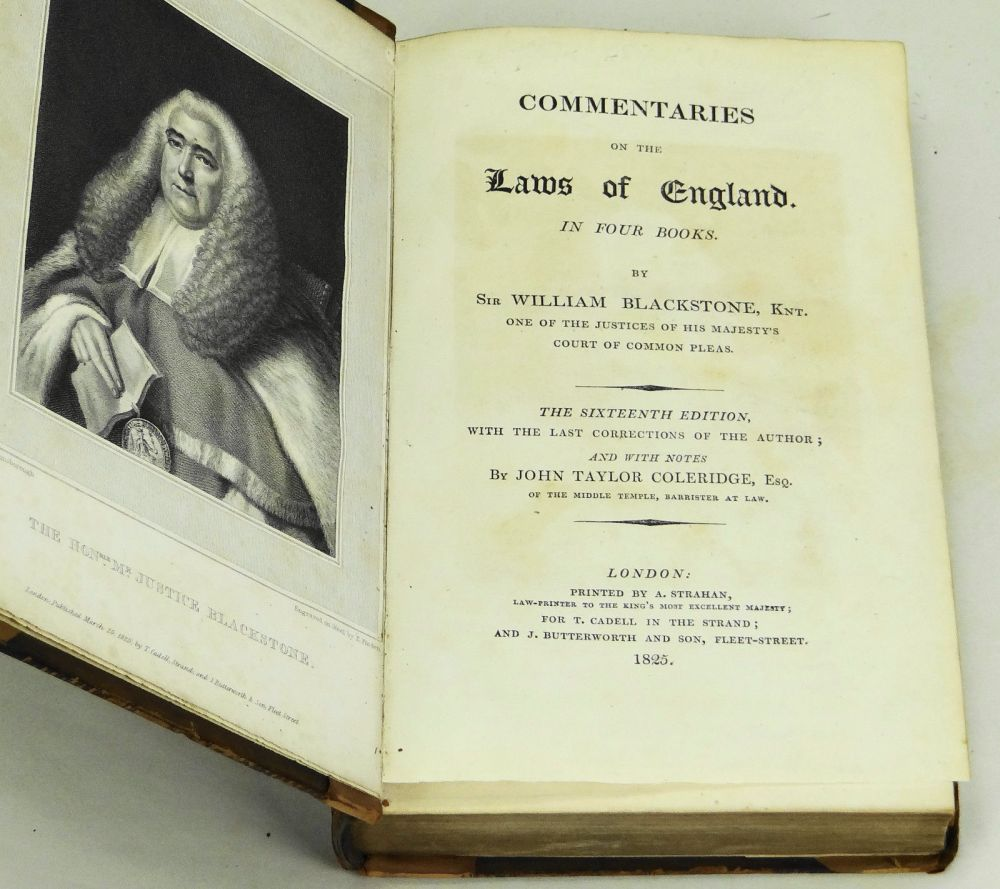 Commentaries on the Laws of England  In Four Books by William Blackstone,  John Taylor Coleridge on Burnside Rare Books