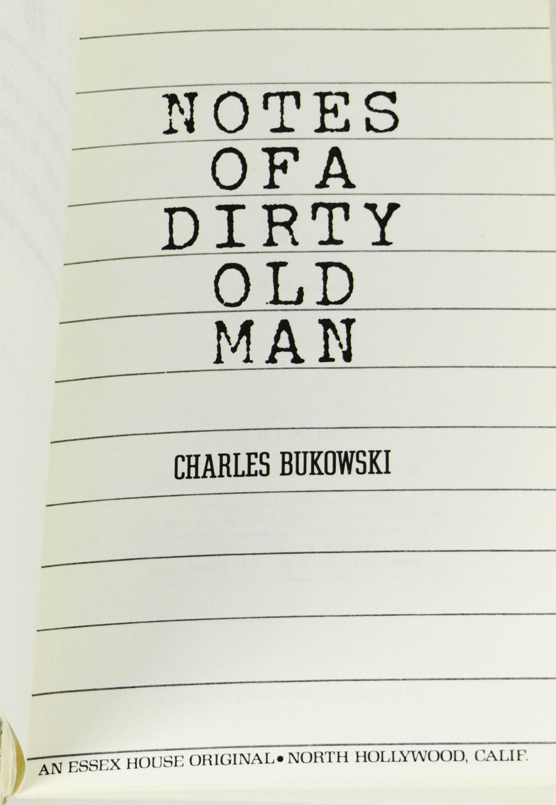 Notes of a Dirty Old Man. Bukowski, Charles