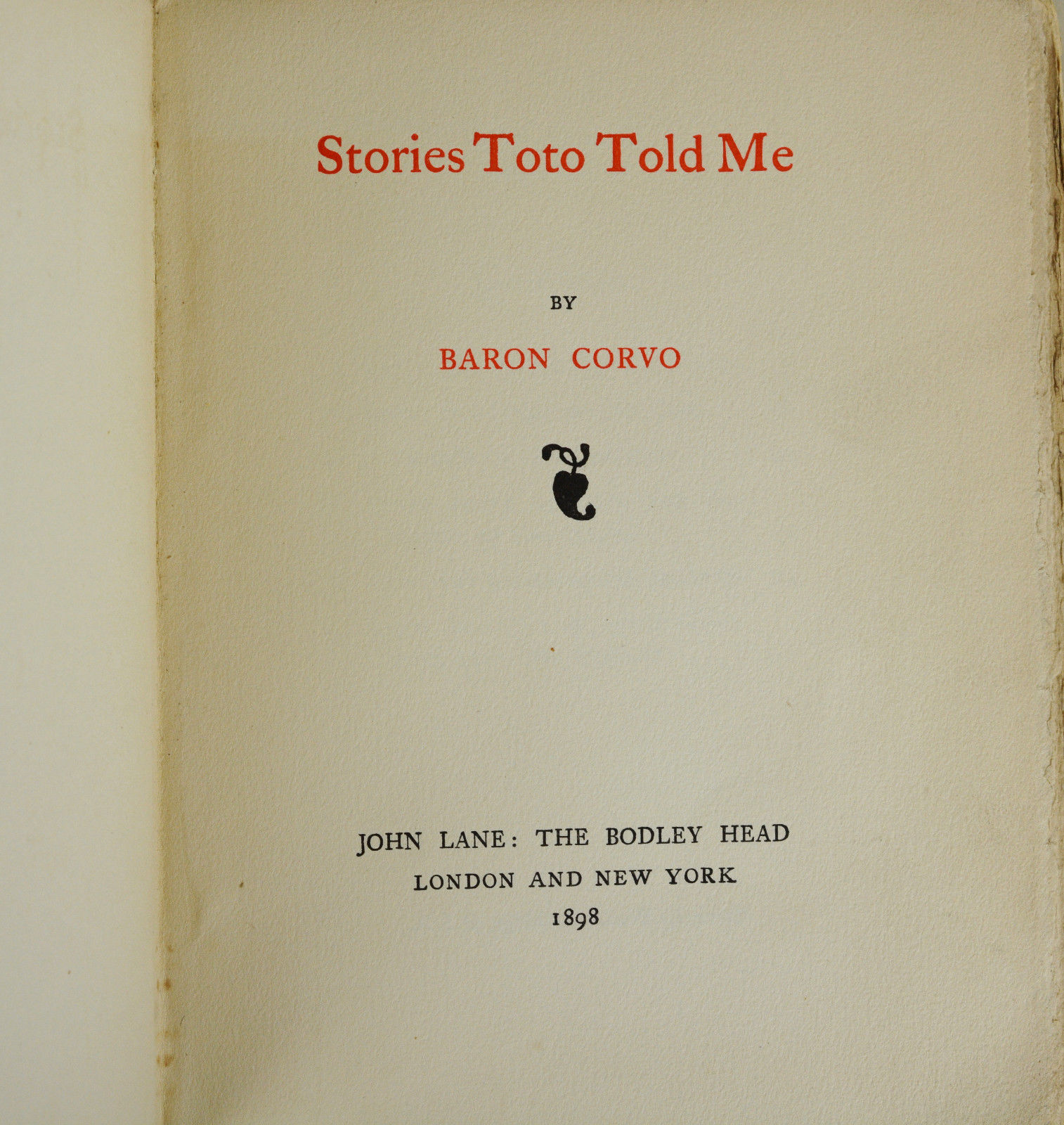 Stories Toto Told Me | Baron Corvo, Fredrick Rolfe | First Edition