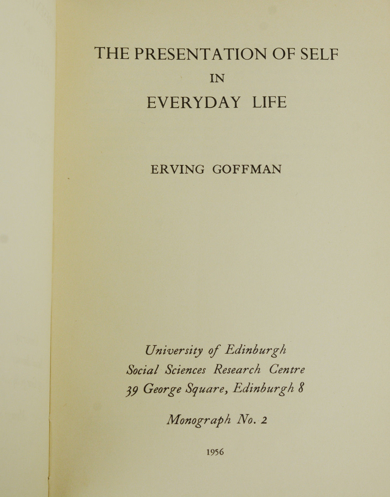 goffman the presentation of self in everyday life