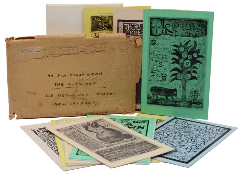 15 picture poem cards in original envelope sent to Jon Edgar Webb, publisher and editor of The Outsider. Kenneth Patchen, Jon Edgar Webb.