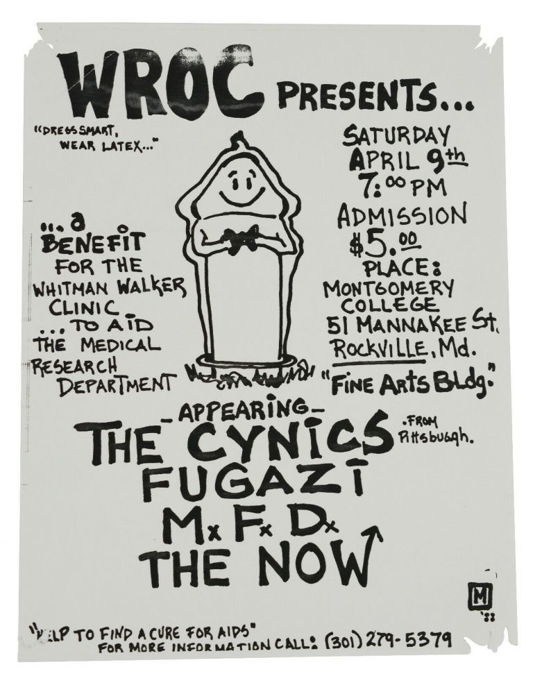 The Cynics, Fugazi, M.F.D., & The Now Flyer for April 9, 1988 Show at the Fine Arts Bldg at Montgomery College, Rockville MD