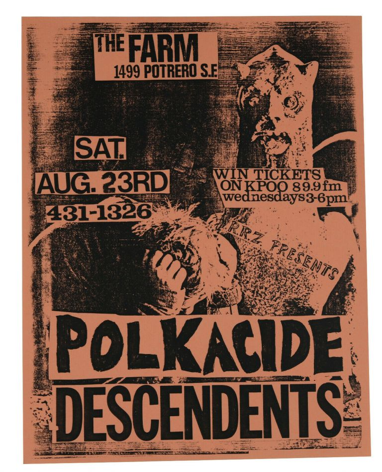 Polkacide / Descendents, August, 23 1986 at The Farm, San Francisco (Original flyer)