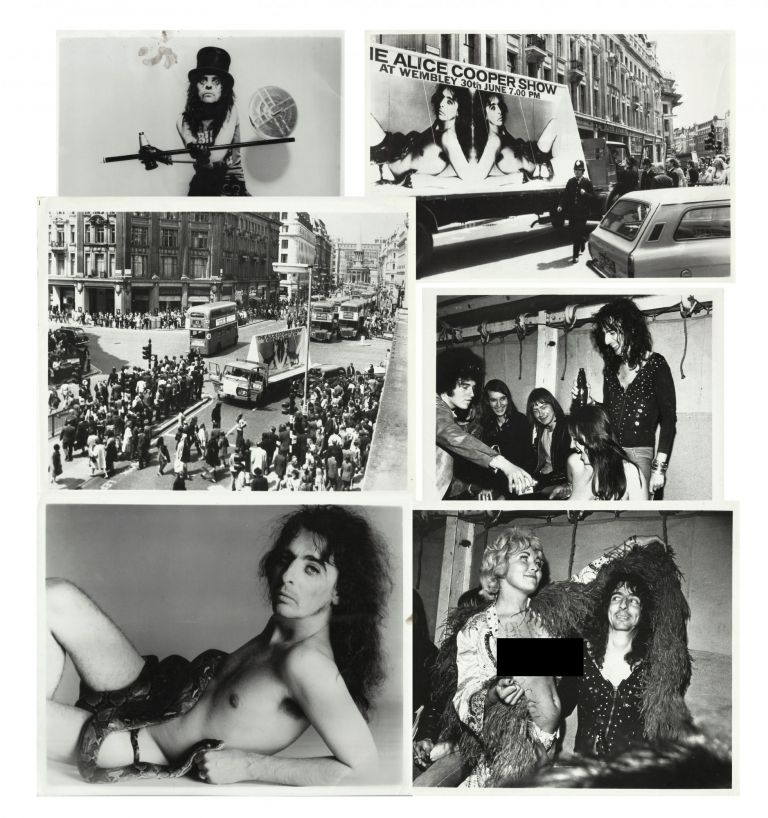 "Six 8"" x 10"" photos of Alice Cooper including two shots of his manager Shep Gordon's 1972 Piccadilly Circus publicity stunt. Alice Cooper, Shep Gordon."