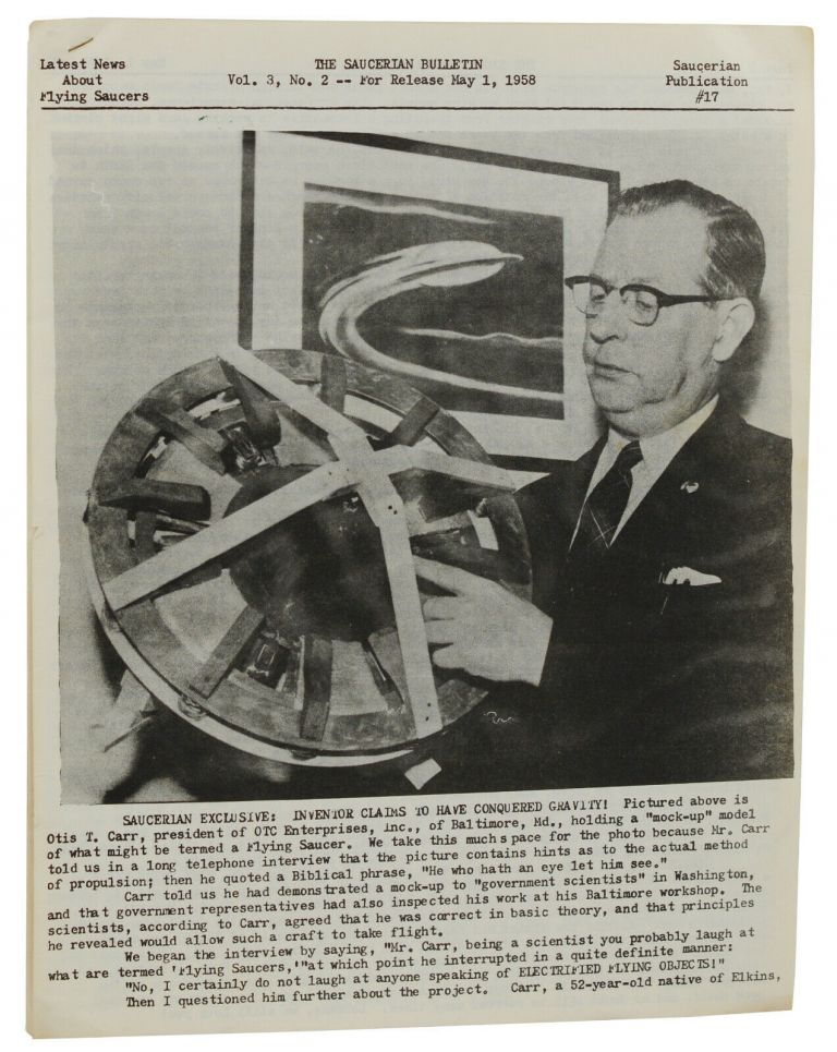 The Saucerian Bulletin: Latest News About Flying Saucers, Vol. 3, No. 2; May 1, 1958. Gray Barker.