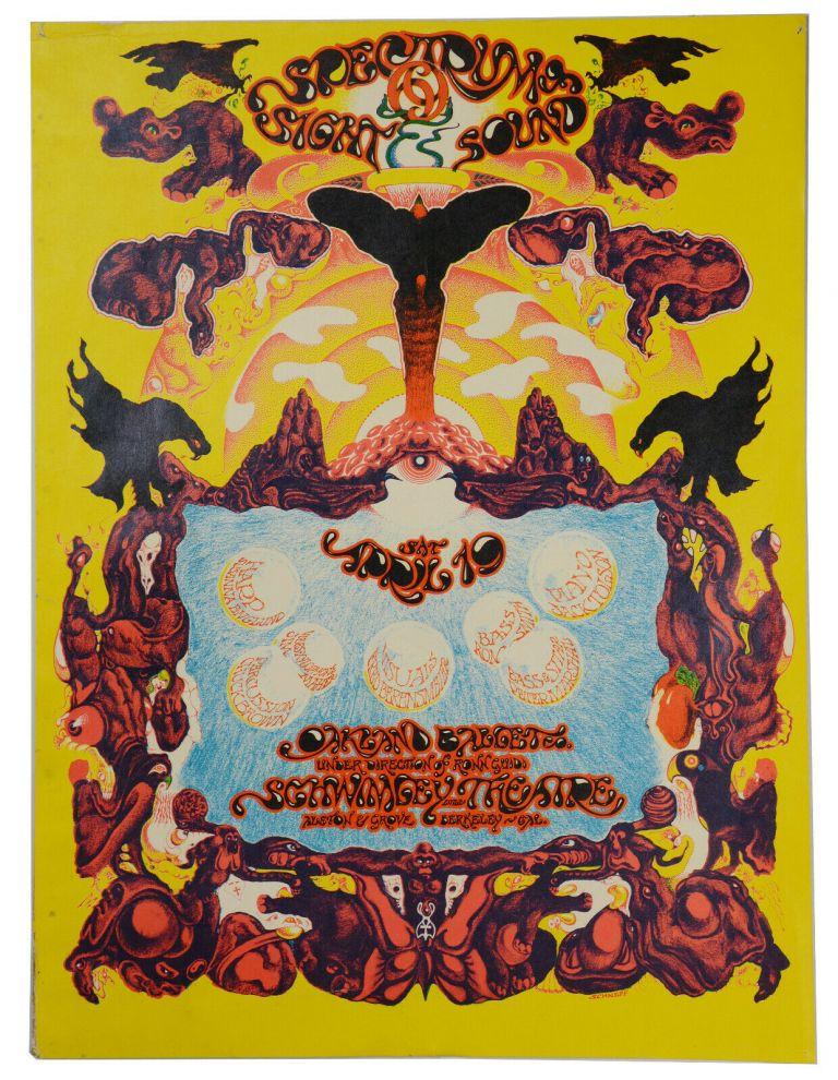 Original psychedelic poster for the Oakland Ballet accompanied by visuals and music at Schwimley Theatre. Bob Schnepf.