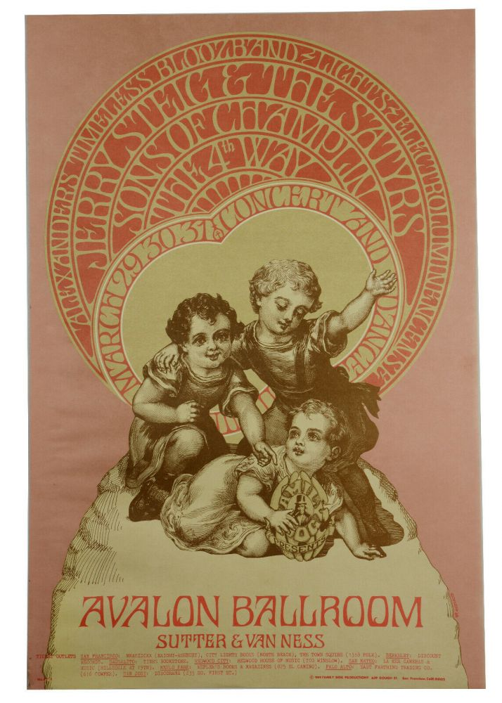 Original poster for Sons of Champlin, the 4th Way, Alexander's Timeless Bloozband, Jerry Steig and the Stayrs, March 29-31 at Avalon Ballroom. Bob Schnepf, Family Dog.