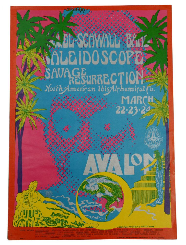 Original poster for Siegel Schwall Band, Kaleidoscope, Savage Resurrection & North American Ibis Alchemical Co, March 22-24 at the Avalon Ballroom. San Andreas Fault, Family Dog.