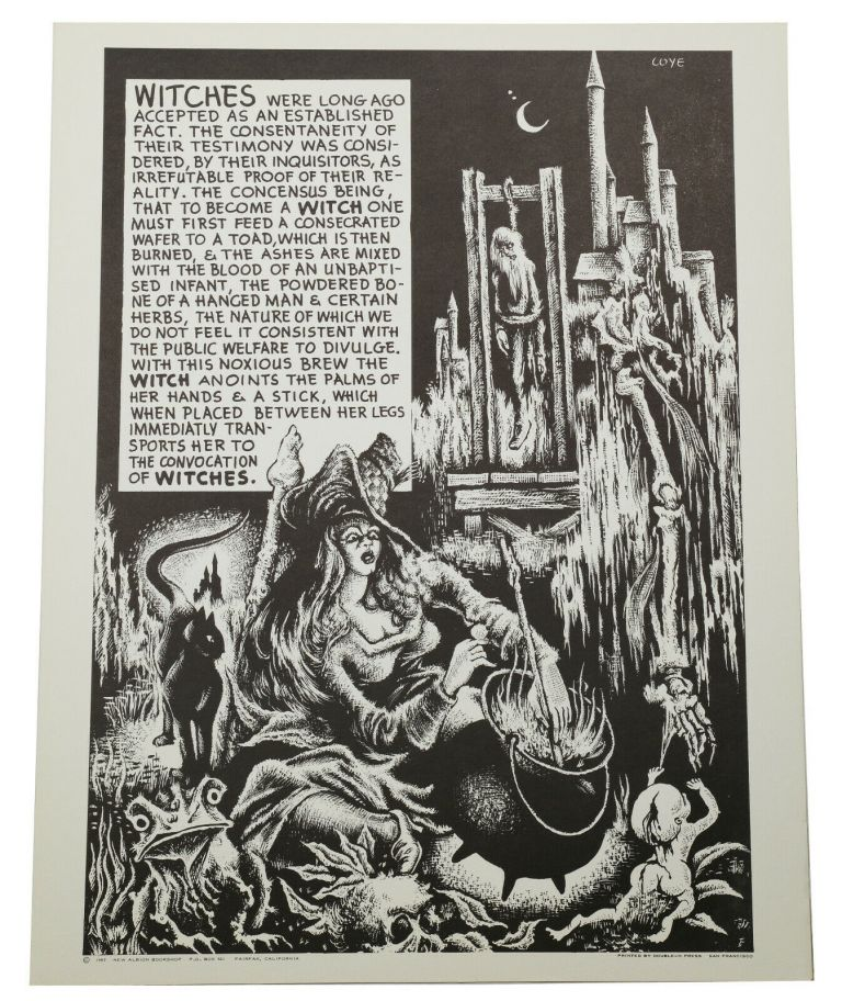 "Original ""Witches"" poster from the Weirdisms series. Lee Brown Coye."