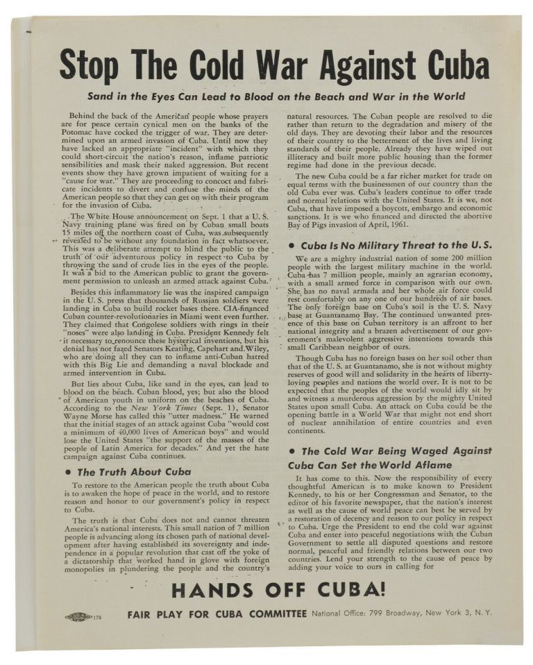 Four pieces of ephemera from Fair Play for Cuba Committee. Richard Gibson.