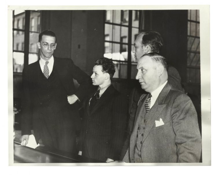 """Youth was a """"Wife"""" for Six Years (Press photograph of transgender woman Mary Baker being sentenced to a 90 day prison term). William Richeson, Mary Baker."""