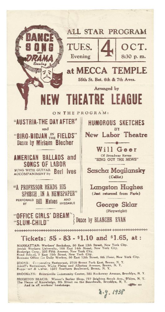 Handbill for All Star Program at Mecca Temple featuring performances by Langston Hughes, Burl Ives and Others. Langston Hughes.