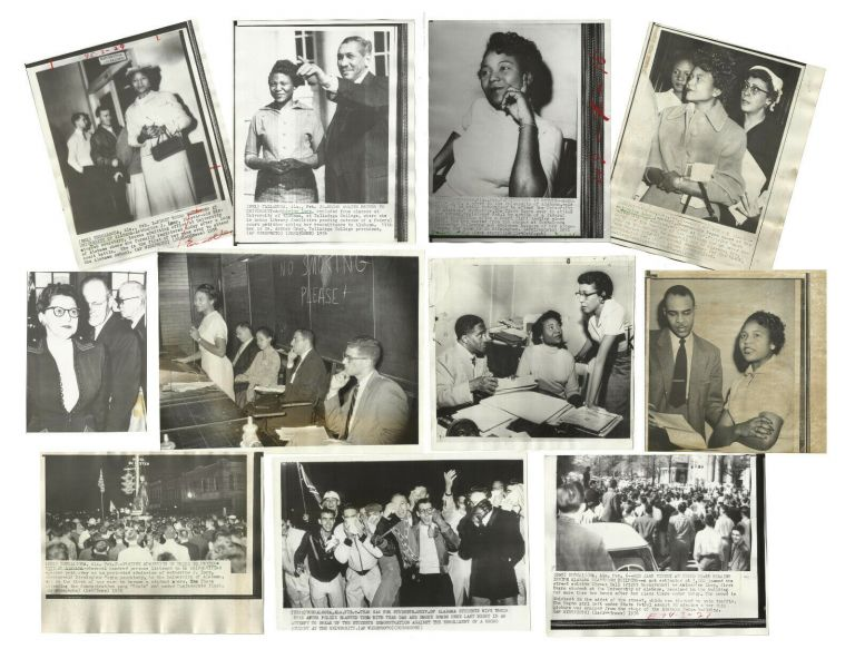 Eleven Photographs Depicting School Integration at the University of Alabama featuring Autherine Lucy, the first African American to attend UA. Autherine Lucy.