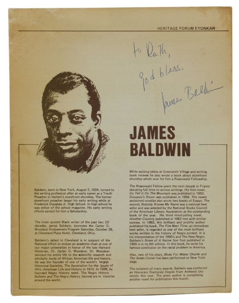 Newsletter for The Association for the Study of Afro-American Life and History, Inc. with three programs from The Karamu House. James Baldwin, The Karamu House Performing Arts Theater.