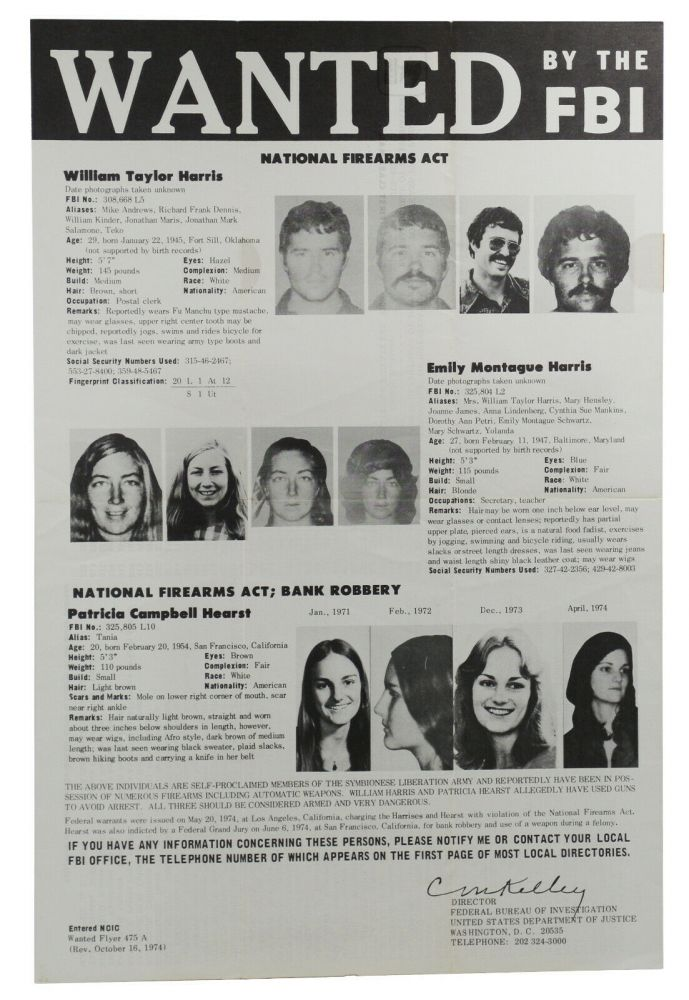"""Wanted by the FBI: William Taylor Harris, Emily Montague Harris, and Patricia Campbell Hearst (Original 10.5"""" x 16"""" FBI poster for Patty Hearst). Federal Bureau of Investigation."""