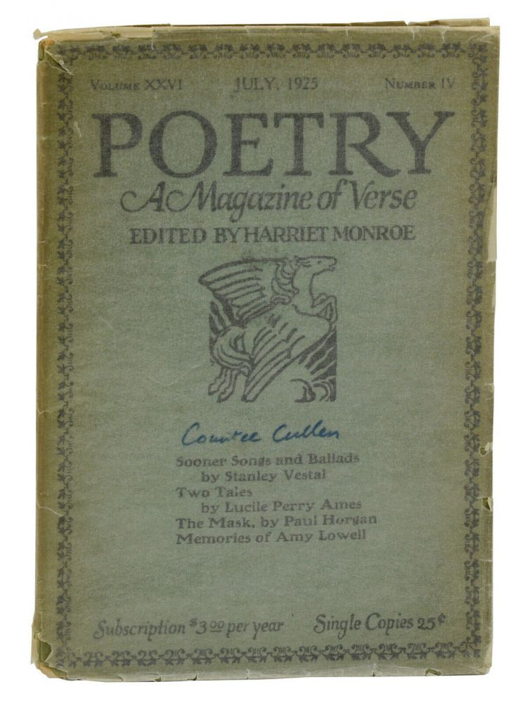 """""""Epitaphs"""" by Countee Cullen in Poetry: A Magazine of Verse, Volume XXVI, Number IV, July 1925. Countee Cullen, Harriet Monroe."""