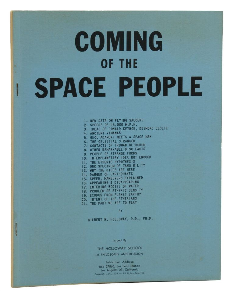 Coming of the Space People. Gilbert N. Holloway.
