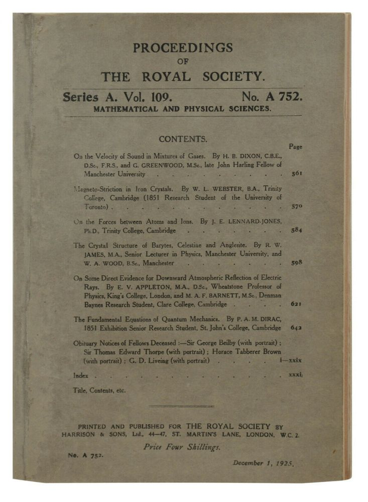Fundamental Equations of Quantum Mechanics [in] Proceedings of the Royal Society of London, Series A, Vol. 109. P. A. M. Dirac, Paul Adrien Maurice.