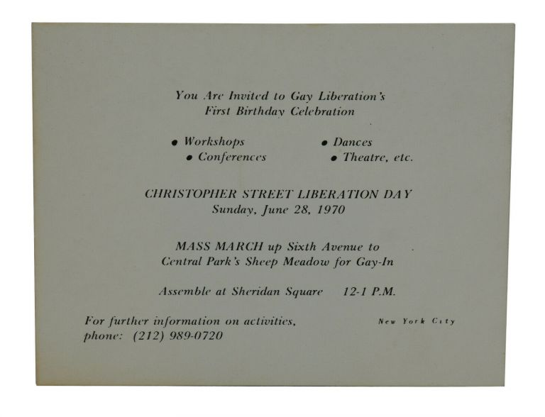 You are Invited to Gay Liberation's First Birthday Celebration [A Small card promoting the very first Gay Pride March held on the one-year anniversary of Stonewall]. Christopher Street Liberation Day Committee.