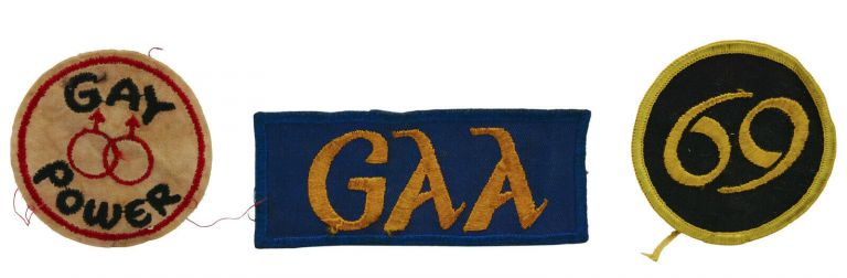 Three Original Gay Pride Patches: Gay Power, 69, GAA. Gay Activists Alliance.
