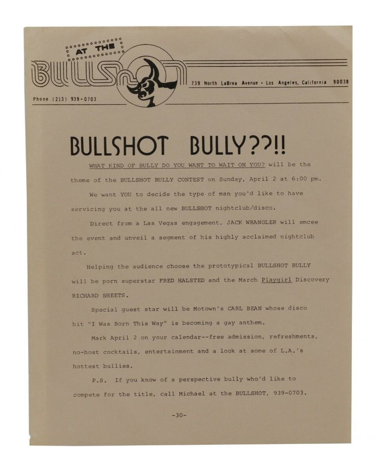 Bullshot Bully??!! [Los Angeles Gay Bar Flier]. Gay Bars.