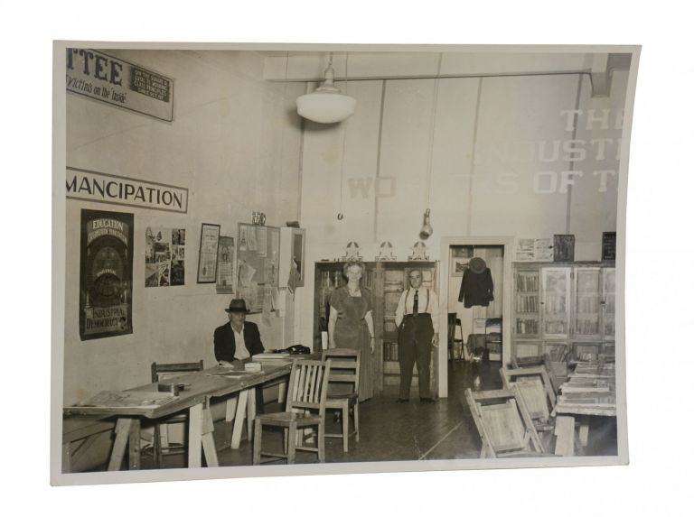Three photos of an Industrial Workers of the World bookstore. Unknown photographer.