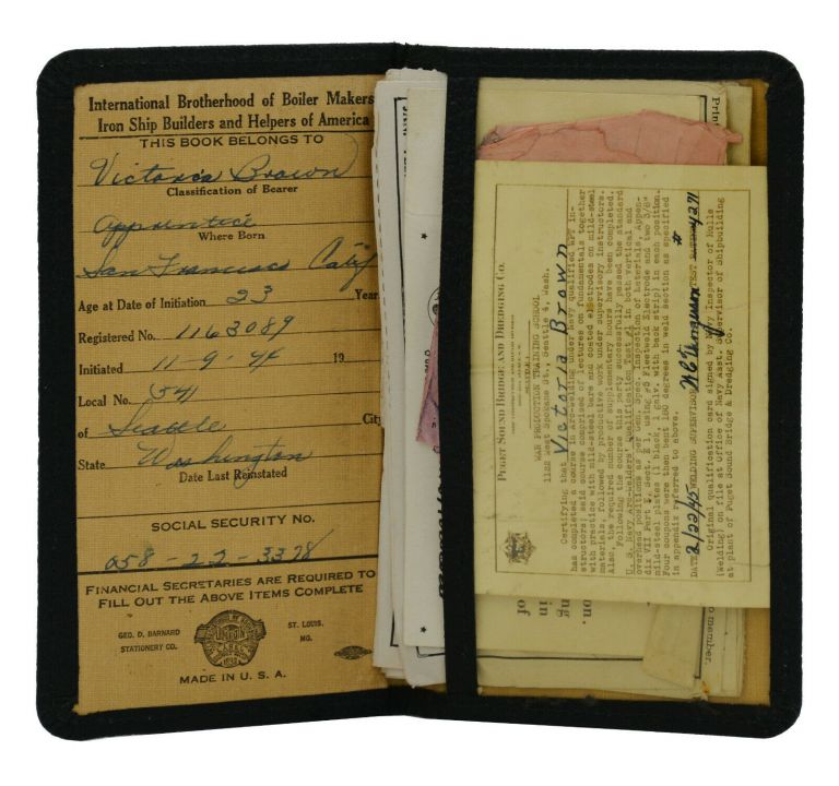 Wallet of union documents from an American female welder in WWII. Victoria Brown.
