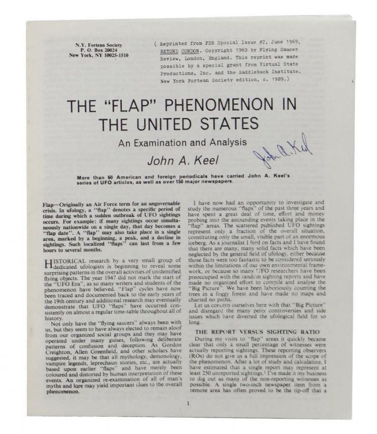 "The ""Flap"" Phenomenon in the United States. John Keel."