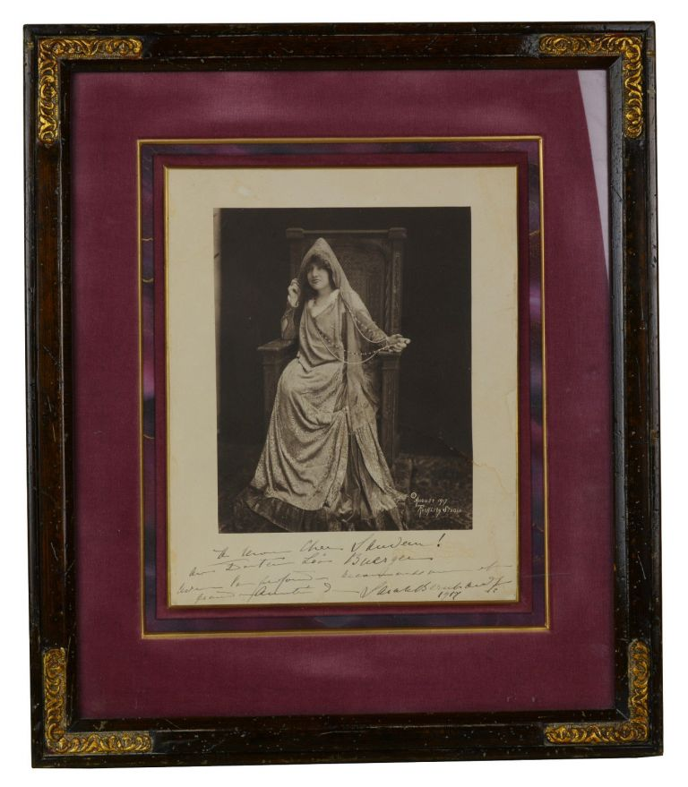 Signed framed photo of Sarah Bernhardt. Sarah Bernhardt, Unknown Photographer.