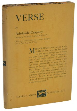 Verse. Adelaide Crapsey, Claude Bragdon, Jean Webster, Introduction