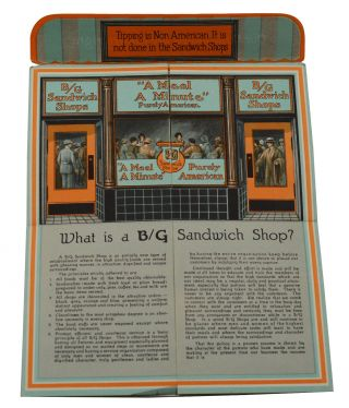 "B/G Sandwich Shops ""What is a B/G Sandwich Shop?"" Fold-Out Ad. B/G Sandwich Shops."