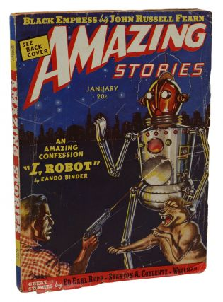 """I, Robot"" in Amazing Stories, January 1939. Eando Binder, Earl Binder, Otto Binder, Pen Name."