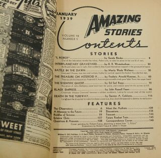 """""""I, Robot"""" in Amazing Stories, January 1939"""