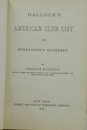 American Club List and Sportsman's Glossary