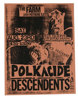Polkacide / Descendents, August, 23 1986 at The Farm, San Francisco (Original flyer