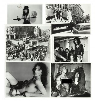 "Six 8"" x 10"" photos of Alice Cooper including two shots of his manager Shep Gordon's 1972..."