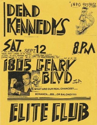 Dead Kennedys, September 12, 1981 at the Elite Club, San Francisco (Original flyer