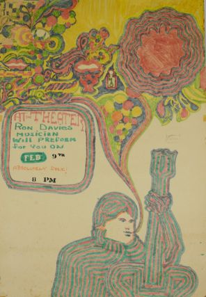"Original Hand-Drawn Rock Poster: ""At the Theater Ron Davies Musician Will Preform for You on Feb...."
