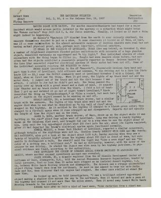 The Saucerian Bulletin: Latest News About Flying Saucers, Vol. 2, No. 4; November 18, 1957. Gray...