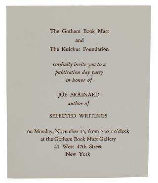 The Gotham Book Mart and the Kulchur Foundation cordially invite you to a publication day party...