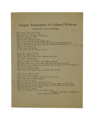 "Oregon Federation of Colored Women Hymnal Featuring ""Lift Every Voice and Sing"" James Weldon Johnson"