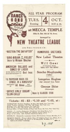 Handbill for All Star Program at Mecca Temple featuring performances by Langston Hughes, Burl...