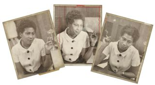 Three Press Photographs Depicting Charlene Mitchell, the First African American Woman to Run for...