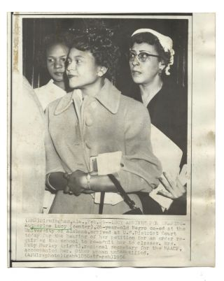 Eleven Photographs Depicting School Integration at the University of Alabama featuring Autherine Lucy, the first African American to attend UA