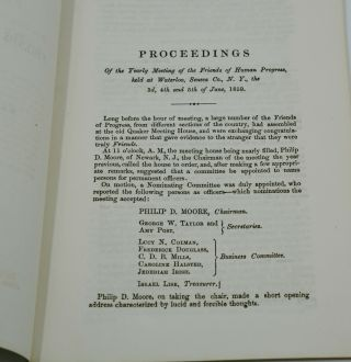 Proceedings of the Yearly Meeting of the Friends of Human Progress held at Waterloo, Seneca Co., N.Y.