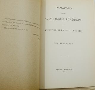 """""""Legends of Paul Bunyan, Lumberjack"""" in Transactions of the Wisconsin Academy of Sciences, Arts, and Letters, Vol. XVIII, Parts 1 & 2"""