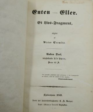 Enten-Eller: Et Livs-Fragment (Either/Or: A Fragment)