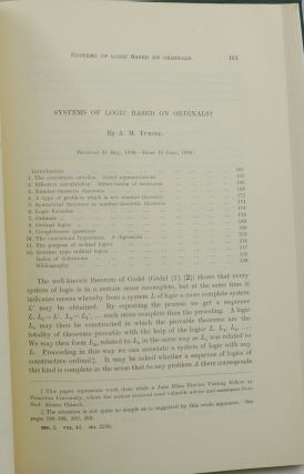 Systems of Logic based on Ordinals [In] Proceedings of the London Mathematical Society Second Series. Volume 45