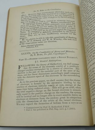 On the Constitution of Atoms and Molecules [In] The London, Edinburgh, and Dublin Philosophical Magazine and Journal of Science. Vol. 26, Nos. 151, 153 and 155