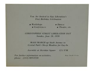 You are Invited to Gay Liberation's First Birthday Celebration [A Small card promoting the very...